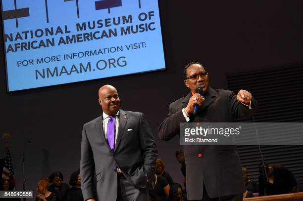 President and CEO NMAAM H Beecher Hicks III and Bishop Bobby Jones speak onstage during an Evening with Richard Smallwood and Yolanda Adams...