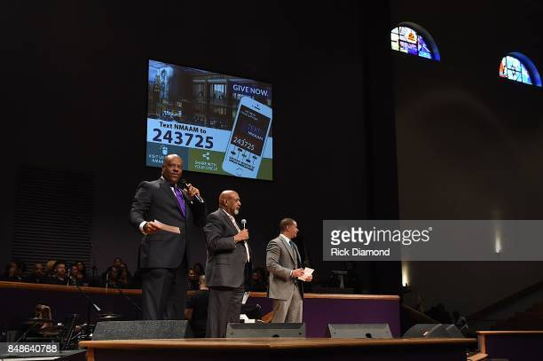 President and CEO NMAAM H Beecher Hicks III Bishop Jerry Maynard and Pastor John Faison speak onstage during an Evening with Richard Smallwood and...