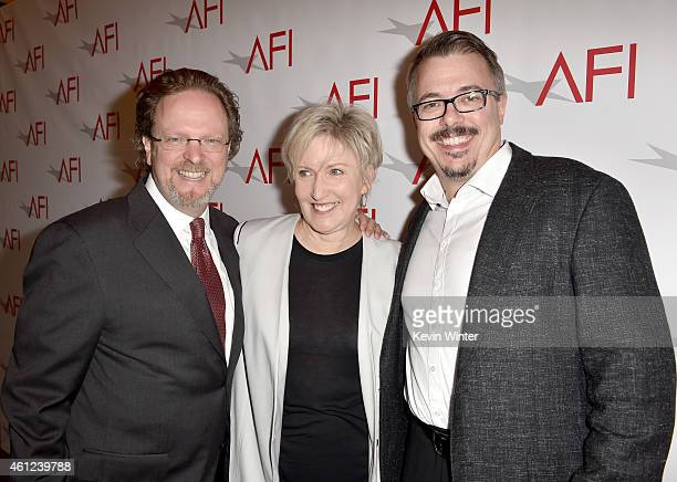President and CEO of AFI Bob Gazzale Holly Rice and writerproducer Vince Gilligan attend the 15th Annual AFI Awards at Four Seasons Hotel Los Angeles...