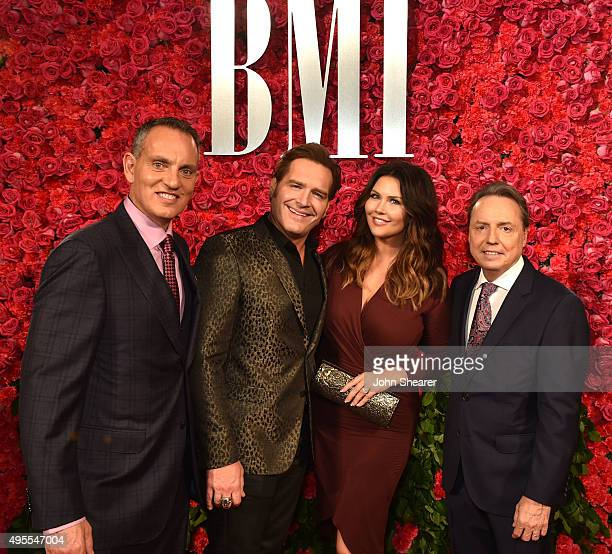 President and CEO of BMI Michael O'Neill and BMI Vice President Writer/Publisher Relations Nashville Jody Williams pose with musical artist Jerrod...