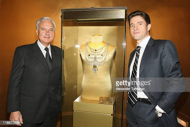 President and CEO of Cartier International Bernard Fornas and President and CEO of Cartier North America Frederic de Narp attend a private dinner in...