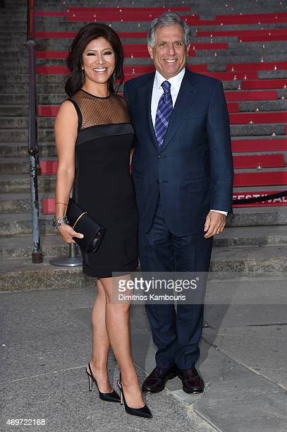 President and CEO of CBS Corporation Leslie Moonves and producer Julie Chen attend the Vanity Fair Party during the 2015 Tribeca Film Festival at the...