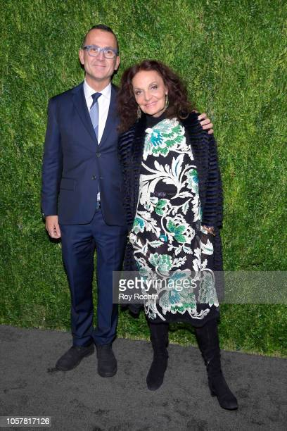 President and CEO of CFDA Steven Kolb and Diane von Furstenberg attend the CFDA / Vogue Fashion Fund 15th Anniversary Event at Brooklyn Navy Yard on...