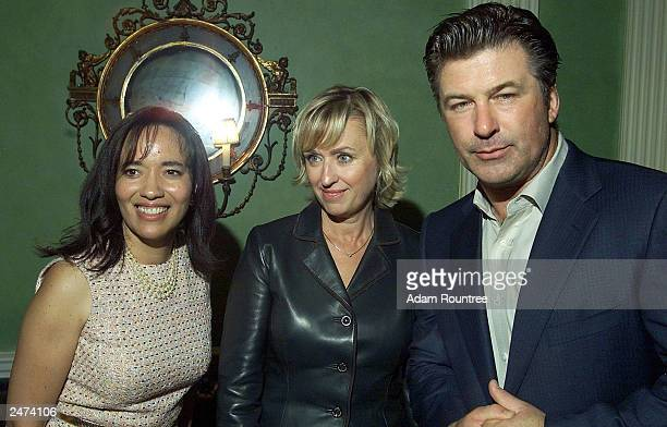 President and CEO of CNBC Pamela ThomasGraham CNBC show host Tina Brown and actor Alec Baldwin attend CNBC's announcement of two primetime specials...