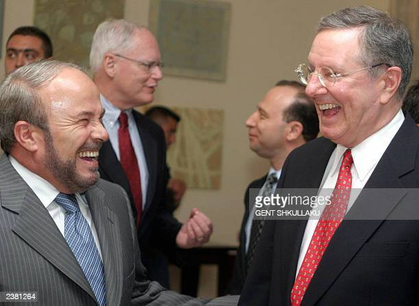 President and CEO of Forbes Inc and editorinchief of Forbes magazine Steve Forbes smiles with Albanian Prime Minister Fatos Nano before a a press...
