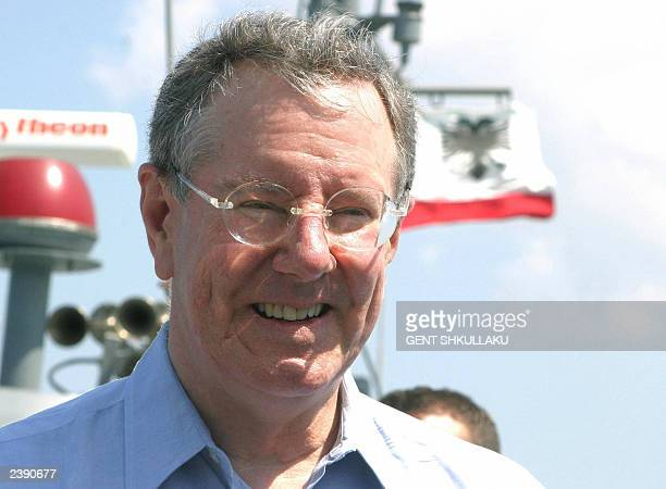 President and CEO of Forbes Inc and editorinchief of Forbes magazine Steve Forbes smiles during a trip around the port of Vlora some 150 km in south...