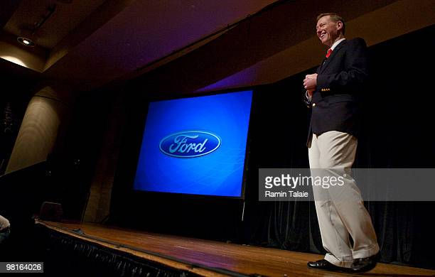 President and CEO of Ford Motor Company Alan Mulally delivers the keynote speech during the opening breakfast at the New York Auto Show March 31 2010...