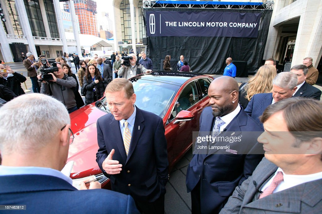 President and CEO of Ford Motor Company Alan Mulally, Lincoln Motor Company Ambassador Emmitt Smith and Global Head of Lincoln Motor Company Jim Farley attend Ford Lincoln Unveils New Brand Direction Lincoln With Emmitt Smith at Lincoln Center on December 3, 2012 in New York City.