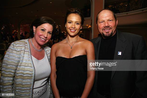 President and CEO of Frederecks of Hollywood Linda LoRe actress and newlywed Jessica Abla and Founder of Youth Mentoring ConnectionTony LoRe pose at...