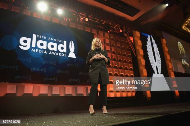 President and CEO of GLAAD Sarah Kate Ellis speaks on stage at the 28th Annual GLAAD Media Awards at The Hilton Midtown on May 6 2017 in New York City