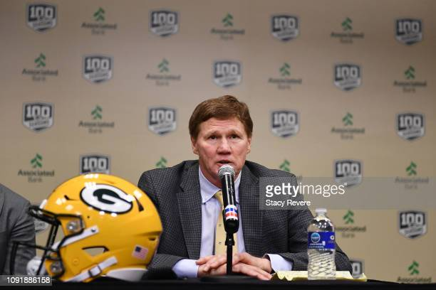 President and CEO of Green Bay Packers Mark Murphy introduces Matt LaFleur as head coach of the Green Bay Packers at Lambeau Field on January 09 2019...