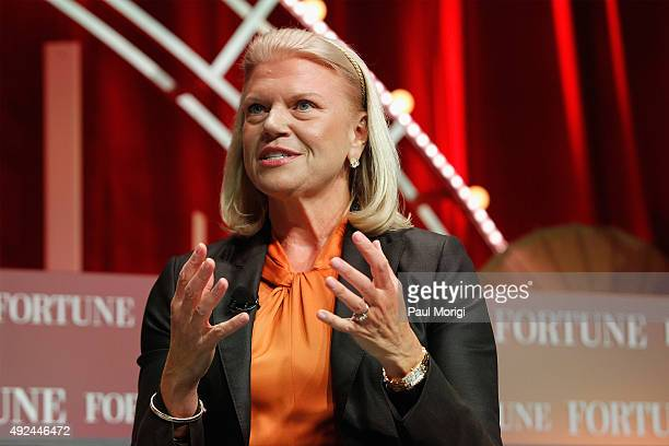 President and CEO of IBM Ginni Rometty speaks onstage during Fortune's Most Powerful Women Summit Day 2 at the Mandarin Oriental Hotel on October 13...