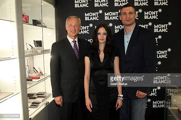 President and CEO of Montblanc International Lutz Bethge Montblanc brand ambassador Eva Green and boxer Vitali Klitschko attend the reception during...