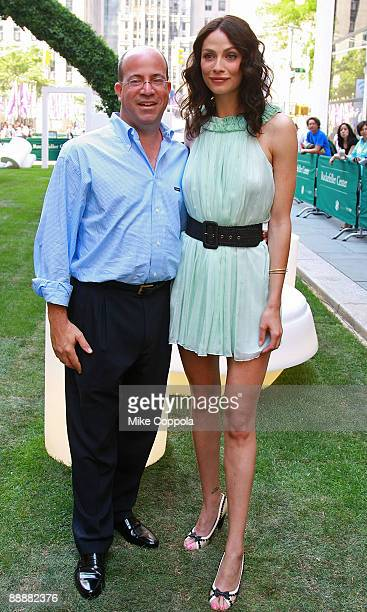 President and CEO of NBC Universal Jeff Zucker and actress Joanne Kelly attend the Syfy Imagination Park dedication ceremony at Rockefeller Center...