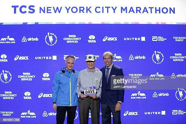 President and CEO of New York Road Runners, Michael Capiraso, 40th consecutive TCS Marathon runner Dave Obelkevich and president of eventsNew ayork...