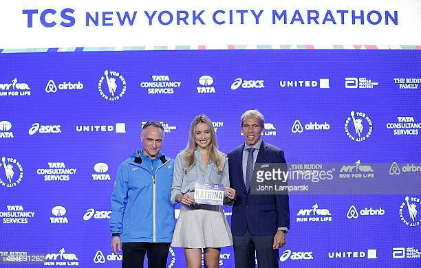 President and CEO of New York Road Runners, Michael Capiraso, actress Katrina Bowden and president of eventsNew ayork Road Runners race director, TCS...