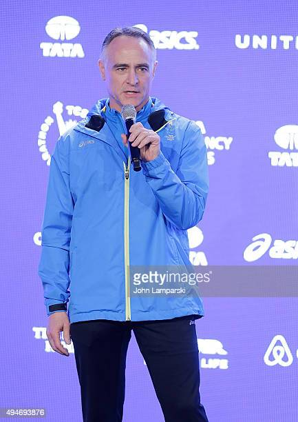 President and CEO of New York Road Runners, Michael Capiraso attends Faces of the 2015 New York City Marathon media photocall at Central Park on...