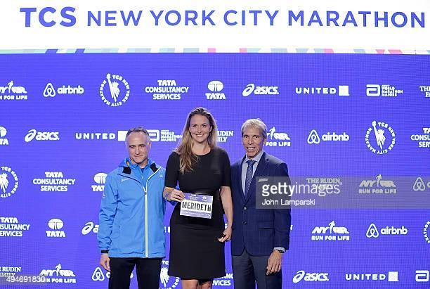 President and CEO of New York Road Runners, Michael Capiraso, charity runner Meredith Gilmore and president of events New ayork Road Runners race...