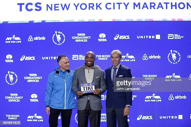 President and CEO of New York Road Runners, Michael Capiraso, former NY Gianst player and radio personality Tiki Barber,and president of events New...