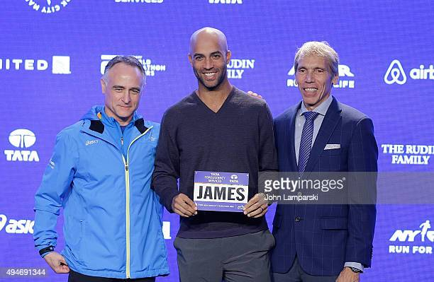 President and CEO of New York Road Runners, Michael Capiraso, former tenns player James Blake and president of events New ayork Road Runners race...
