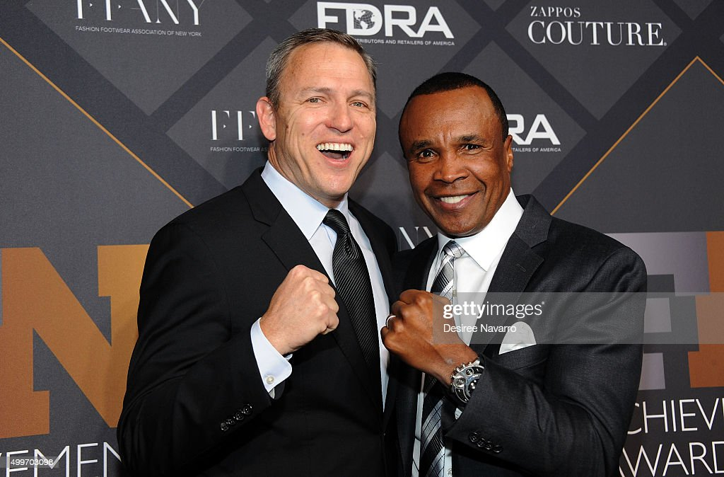 President and CEO of RG Barry Brands, Greg Tunney (L) and Former professional boxer Sugar Ray Leonard attend the 29th FN Achievement Awards at IAC Headquarters on December 2, 2015 in New York City.