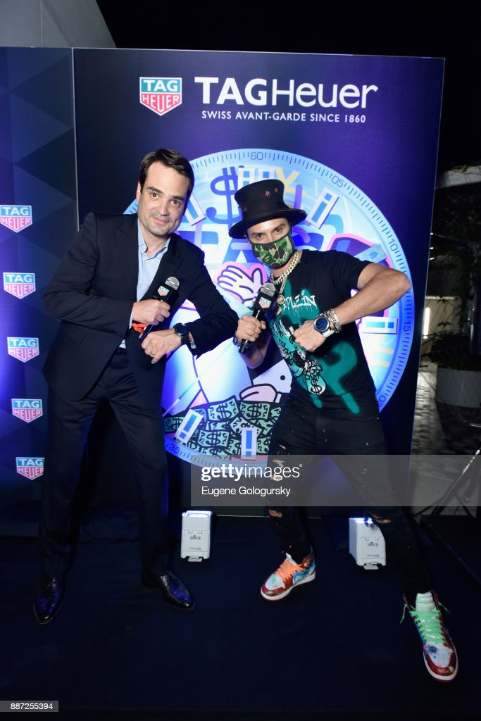 President and CEO of TAG Heuer North America Kilian Muller and artist Alec Monopoly onstage at Art Basel Miami Beach Pre-Show With TAG Heuer Art Provocateur Alec Monopoly at Miami Design District on December 6, 2017 in Miami, Florida.