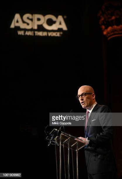 President and CEO of the ASPCA Matthew Bershadker speaks onstage at the ASPCA Hosts 2018 Humane Awards Luncheon at Cipriani 42nd Street on November...