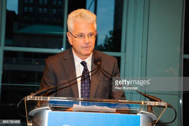President and CEO of the Brain and Behavior Resarch Foundation Dr Jeff Borenstein accepts the Outstanding Organization Award onstage during the 2018...