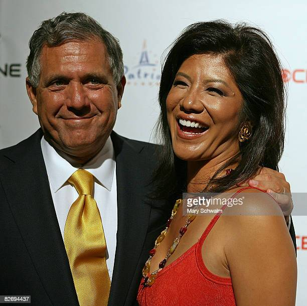 President and CEO of the CBS Corporation Leslie Moonves and his wife Julie Chen attend the grand opening of the CBS Scene Restaurant Bar on September...