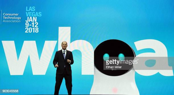 President and CEO of the Consumer Technology Association Gary Shapiro delivers a keynote address at CES 2018 at The Venetian Las Vegas on January 9...