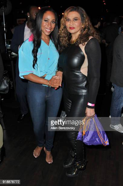 President and CEO of the LadyLike Foundation Leah Pump and Tina Knowles Lawson attend the NBA All-Star Bowling Classic at Lucky Strike LA Live on...