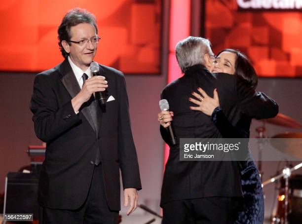 President and CEO of the Latin Academy of Recording Arts Sciences Gabriel Abaroa Jr Julieta Venegas honoree Caetano Veloso onstage during the 2012...