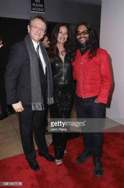 President and CEO of the Latin Recording Academy Gabriel Abaroa Angela Alvarado and Draco Rosa attend the Person of the Year Gala honoring Mana...