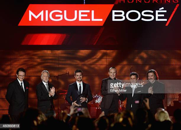 President and CEO of the Latin Recording Academy Gabriel Abaroa Recording Academy President/CEO Neil Portnow recording artist Juanes honoree Miguel...