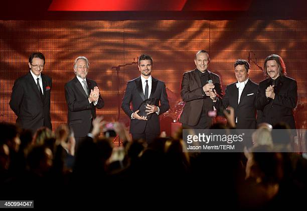 President and CEO of the Latin Recording Academy Gabriel Abaroa, Recording Academy President/CEO Neil Portnow, recording artist Juanes, honoree...
