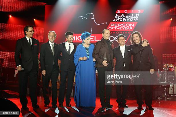 President and CEO of the Latin Recording Academy Gabriel Abaroa Recording Academy President/CEO Neil Portnow recording artist Juanes actress Lucia...