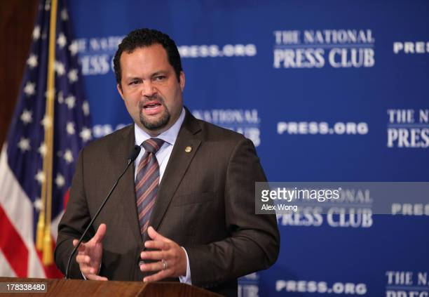 President and CEO of the NAACP Benjamin Jealous speaks during a National Press Club luncheon August 29, 2013 in Washington, DC. Jealous discussed on...