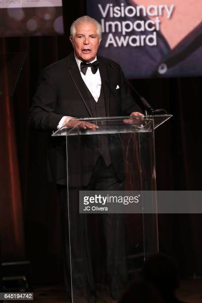 President and CEO of the National Hispanic Media Coalition Alex Nogales speaks onstage during the 20th Annual National Hispanic Media Coalition...