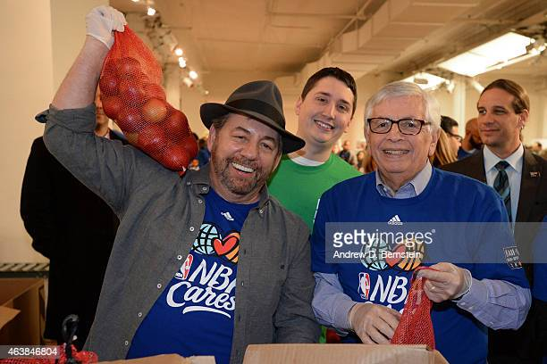 President and CEO of the New York Knicks James Dolan and former NBA Commisioner David Stern participate in the NBA Cares AllStar Day of Service at...