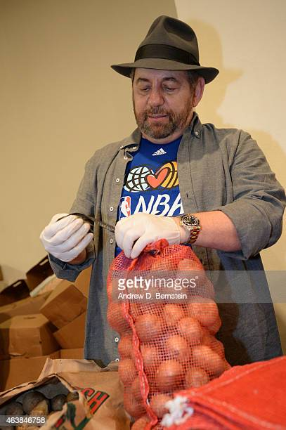 President and CEO of the New York Knicks James Dolan participates in the NBA Cares AllStar Day of Service at the Metropolitan Pavilion on February 13...