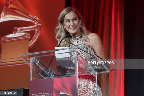 President and CEO of The Recording Academy Deborah Dugan speaks onstage at the Special Awards Presentation during the 20th annual Latin GRAMMY Awards...