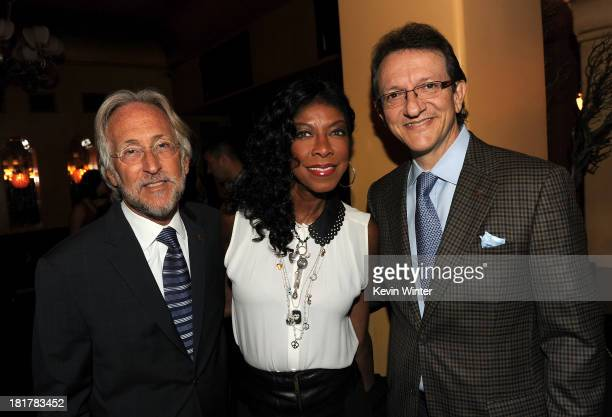 President and CEO of The Recording Academy Neil Portnow singer Natalie Cole and President and CEO of the Latin Recording Academy Gabriel Abaroa...