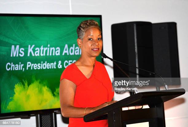 President and CEO of the USTA Miss Katrina Adams speaks at the official dinner at GOMA ahead of the Davis Cup World Group Quarterfinal match between...