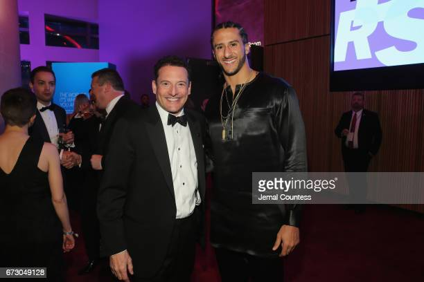 President and CEO of Time Inc Rich Battista and athlete Colin Kaepernick attend the 2017 Time 100 Gala at Jazz at Lincoln Center on April 25 2017 in...
