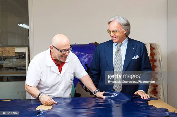 President and CEO of Tod's, Diego Della Valle is photographed for Le Figaro Magazine on July 29, 2014 in Casette d'Ete, Italy. Employee Toni Ripani...