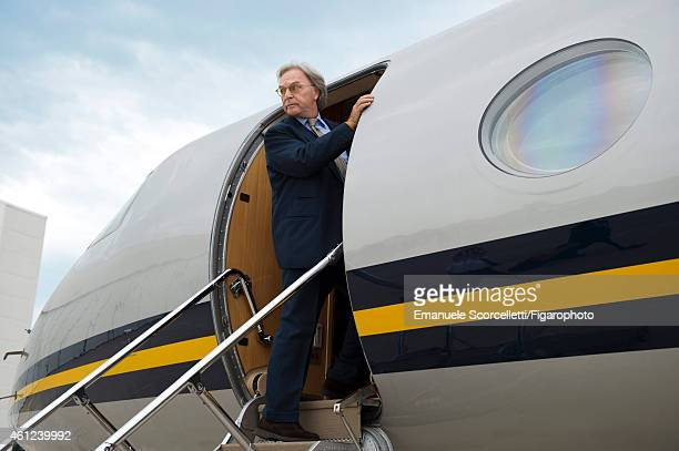 President and CEO of Tod's, Diego Della Valle is photographed on his private jet for Le Figaro Magazine on July 29, 2014 in Casette d'Ete, Italy....