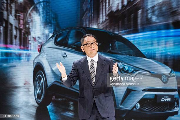 President and CEO of Toyota Motor Corporation Akio Toyoda delivers a speech during the press preview of the Paris Motor Show at Paris Expo Porte de...