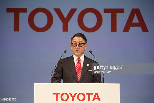 President and CEO of Toyota Motor Corporation Akio Toyoda speaks to the media during a news conference at the Imperial Hotel on March 13 2015 in...