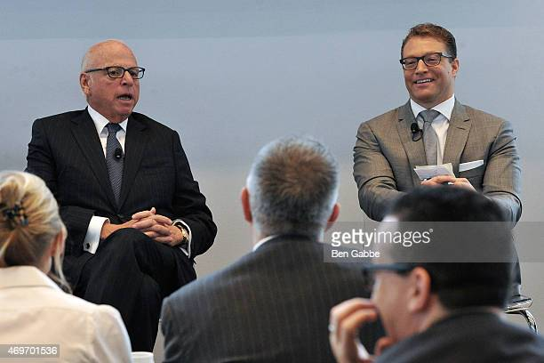 President and CEO of Vector Group Howard Lorber and journalist Robert Frank attend the Douglas Elliman Wealth Report Launch on April 14 2015 in New...