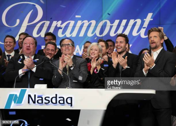 President and CEO of Viacom Inc Robert M Bakish President of Paramount Network Kevin Kay and the cast of 'Waco' Andrea Riseborough Taylor Kitsch and...